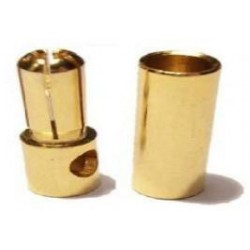 Conectores banana dorados 5.5mm. Macho + Hembra