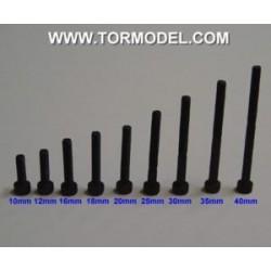 Tornillo allen negro M3 X 20mm. - 5 unidades