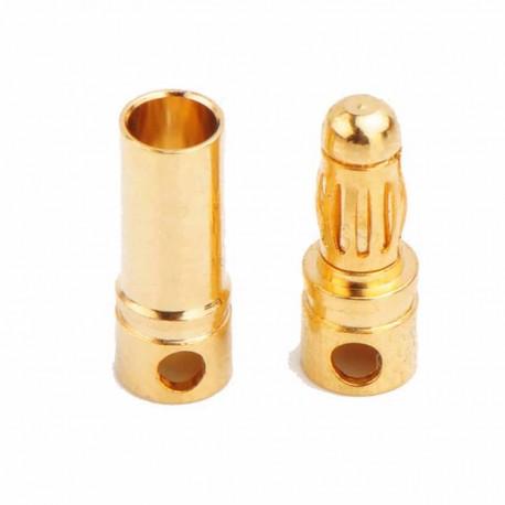 Conectores banana dorados 3.5mm. Macho + Hembra