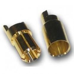 Conectores banana dorados 6mm. Macho + Hembra