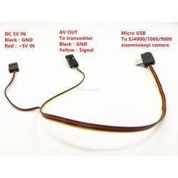 Cable AV y carga para las camaras SJ4000/5000/6000, XIAOYI y compatibles