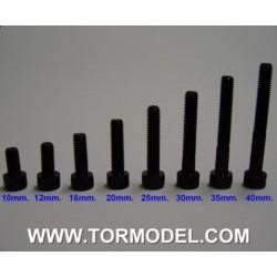 Tornillo allen negro M5 X 25mm. - 5 unidades