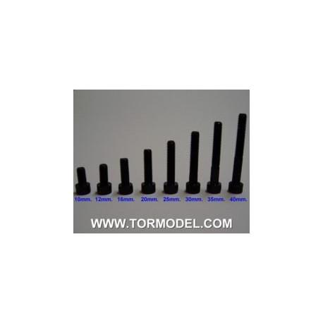 Tornillo allen negro M5 X 40mm. - 5 unidades
